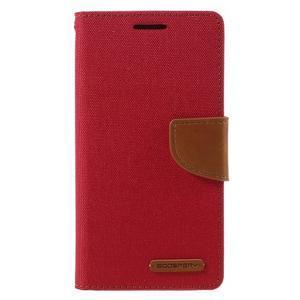 Canvas PU kožené/textilní pouzdro na Samsung Galaxy A5 (2016) - červené - 2