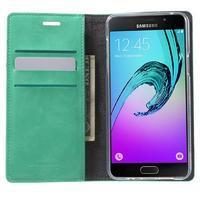 Moon PU kožené pouzdro na Samsung Galaxy A5 (2016) - cyan - 2/7