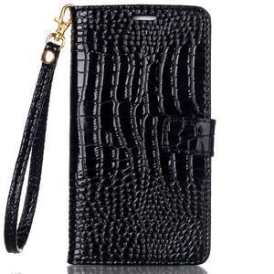 Croco styl peněženkové pouzdro na Samsung Galaxy S7 - černé - 2