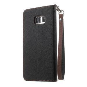 Mercury Orig PU kožené pouzdro na Samsung Galaxy S7 Edge - černé/hněé - 2