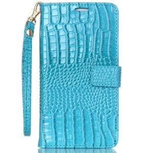 Croco styl peněženkové pouzdro na Samsung Galaxy S7 - modré - 2