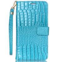 Croco styl peněženkové pouzdro na Samsung Galaxy S7 - modré - 2/6