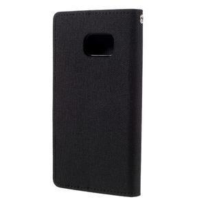 Canvas PU kožené/textilní pouzdro na Samsung Galaxy S7 - černé - 2