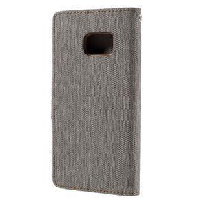 Canvas PU kožené/textilní pouzdro na Samsung Galaxy S7 - šedé - 2