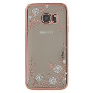 Nice gelový obal s kamínky na Samsung Galaxy S7 - bílé květiny - 2