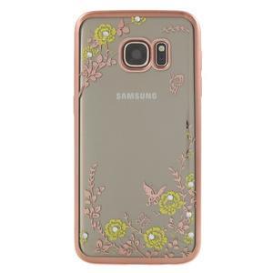 Nice gelový obal s kamínky na Samsung Galaxy S7 - žluté květiny - 2