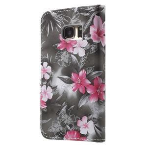 Flower pouzdro na mobil Samsung Galaxy S7 - černé pozadí - 2