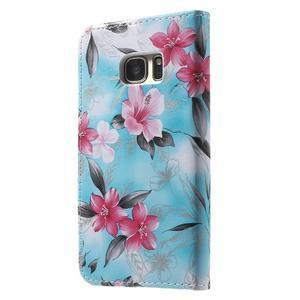 Flower pouzdro na mobil Samsung Galaxy S7 - modré pozadí - 2
