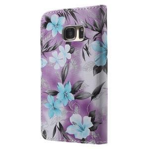 Flower pouzdro na mobil Samsung Galaxy S7 - fialové pozadí - 2