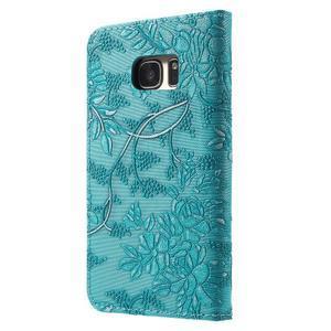 Květinové pěněženkové pouzdro na Samsung Galaxy S7 - modré - 2