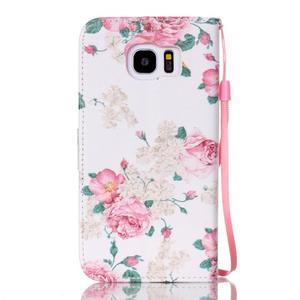 Květinové peněženkové pouzdro na Samsung Galaxy S7 Edge - 2