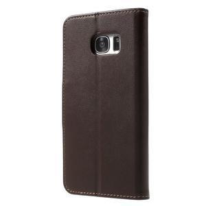 Rich PU kožené pouzdro na Samsung Galaxy S7 edge - hnědé - 2