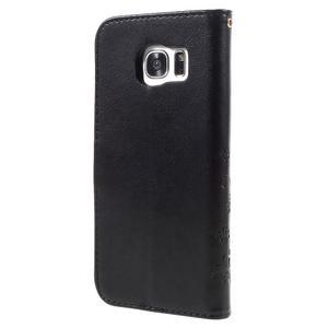 Butterfly PU kožené pouzdro na Samsung Galaxy S7 edge - černé - 2