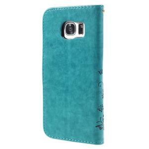Butterfly PU kožené pouzdro na Samsung Galaxy S7 edge - modré - 2