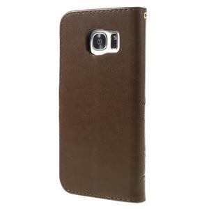 Butterfly PU kožené pouzdro na Samsung Galaxy S7 edge - coffee - 2