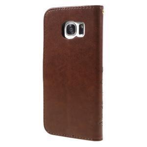 Butterfly PU kožené pouzdro na Samsung Galaxy S7 edge - hnědé - 2