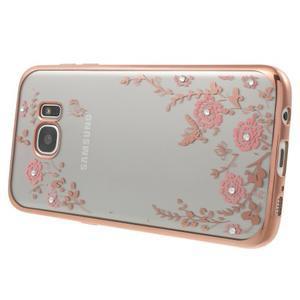 Nice gelový obal s kamínky na Samsung Galaxy S7 edge - růžové květiny - 2