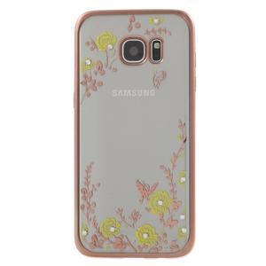 Nice gelový obal s kamínky na Samsung Galaxy S7 edge - žluté květiny - 2