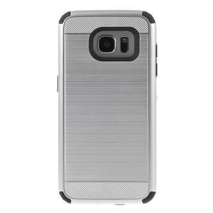 Odolný dvoudílný obal na Samsung Galaxy S7 edge - stříbrný - 2