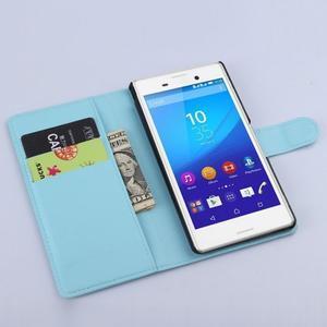 Světle modré PU kožené pouzdro na Sony Xperia M4 Aqua - 2