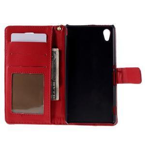Tmavě červené PU kožené pouzdro aligátor pro Sony Xperia M4 Aqua - 2