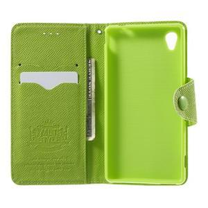 Zelené PU kožené peněženkové pouzdro na Sony Xperia M4 Aqua - 2