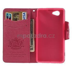 Peněženkové PU kožené pouzdro na Sony Xperia Z1 Compact - rose - 2
