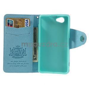 Peněženkové PU kožené pouzdro na Sony Xperia Z1 Compact - modré - 2