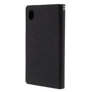 Canvas PU kožené/textilní pouzdro na Sony Xperia Z5 - černé - 2