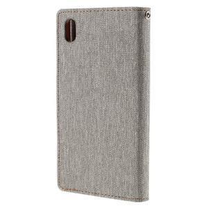 Canvas PU kožené/textilní pouzdro na Sony Xperia Z5 - šedé - 2