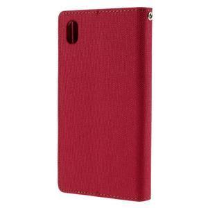 Canvas PU kožené/textilní pouzdro na Sony Xperia Z5 - červené - 2