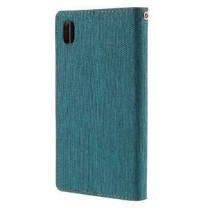Canvas PU kožené/textilní pouzdro na Sony Xperia Z5 - zelené - 2
