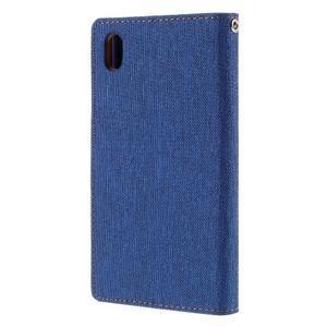Canvas PU kožené/textilní pouzdro na Sony Xperia Z5 - modré - 2