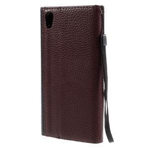 Stylové peněženkové pouzdro Sony Xperia Z5 - černé/hnědé - 2