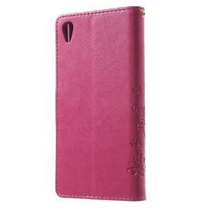 Butterfly PU kožené pouzdro na Sony Xperia Z5 - rose - 2