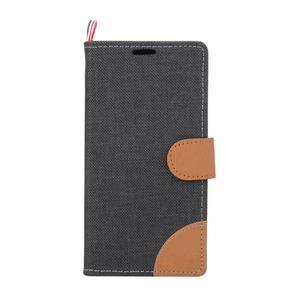 Cloth textilní/koženkové pouzdro na Sony Xperia Z5 - černé - 2