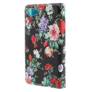 Wally peněženkové pouzdro na Sony Xperia Z5 Compact - květiny - 2