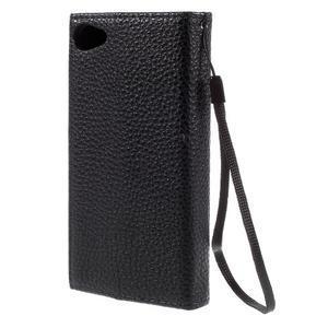 Stylové peněženkové pouzdro na Sony Xperia Z5 Compact - černé/hnědé - 2