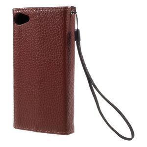 Stylové peněženkové pouzdro na Sony Xperia Z5 Compact - hnědé/černé - 2
