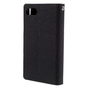 Canvas PU kožené/textilní pouzdro na Sony Xperia Z5 Compact - černé - 2