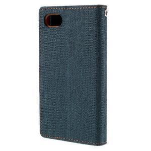 Canvas PU kožené/textilní pouzdro na Sony Xperia Z5 Compact - tmavěmodré - 2