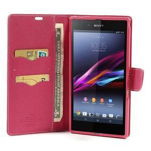 Peněženkové PU kožené pouzdro na Sony Z Ultra - růžové - 2