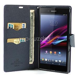Peněženkové PU kožené pouzdro na Sony Z Ultra - fialové - 2