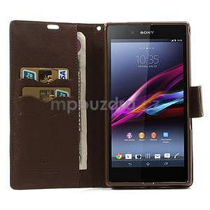 Peněženkové PU kožené pouzdro na Sony Z Ultra - černé/hnědé - 2