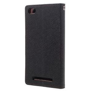 Diary PU kožené pouzdro na mobil Xiaomi Redmi 3 - černé/hnědé - 2