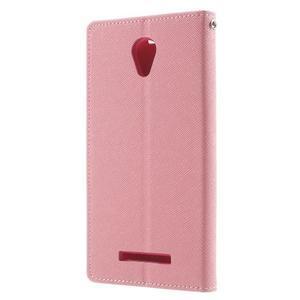 Goos PU kožené pouzdro na Xiaomi Redmi Note 2 - růžové - 2