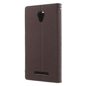 Goos PU kožené pouzdro na Xiaomi Redmi Note 2 - hnědé - 2