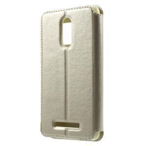 PU kožené pouzdro s okýnkem na Xiaomi Redmi Note 3 - zlaté - 2