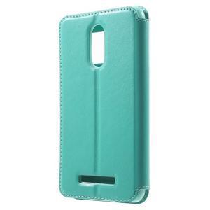 PU kožené pouzdro s okýnkem na Xiaomi Redmi Note 3 - azurové - 2