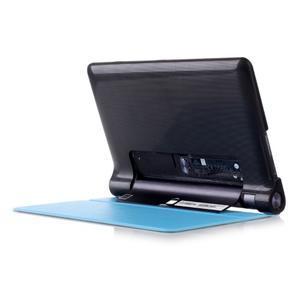 Polohovatelnotelné PU kožené pouzdro na Lenovo Yoga Tab 3 8.0 - světlemodré - 2